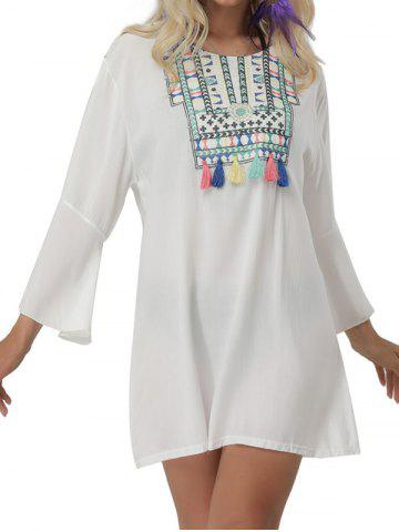 Chic Bell Sleeve Embroidered Cover Up Mini Dress - ONE SIZE WHITE Mobile