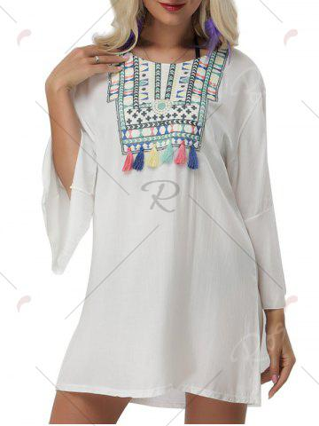 New Bell Sleeve Embroidered Cover Up Mini Dress - ONE SIZE WHITE Mobile