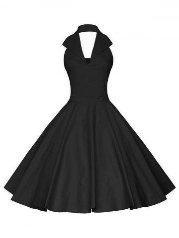 Vintage Backless Halter Pinup Dress - Black - L