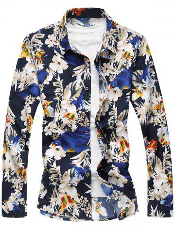 Shops Plus Size Long Sleeve Flowers and Birds Print Shirt - 7XL COLORMIX Mobile