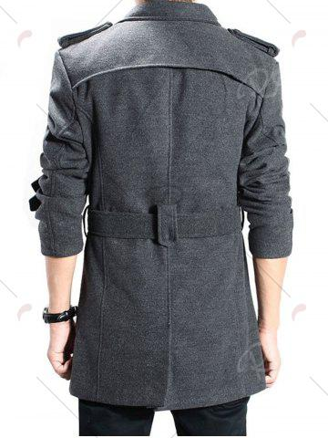 Fancy Double Breasted Epaulet Back Slit Peacoat with Belt - 2XL DEEP GRAY Mobile