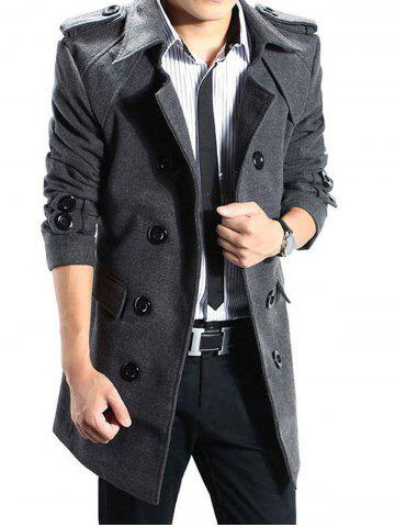 Fancy Double Breasted Epaulet Back Slit Peacoat with Belt - XL DEEP GRAY Mobile