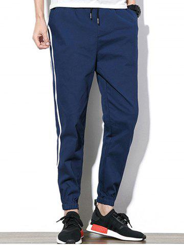 New Drawstring Beam Feet Side Stripe Design Jogger Pants - 5XL CADETBLUE Mobile