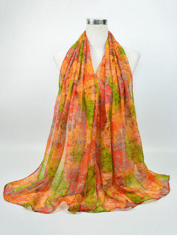 Cheap Voile Nostalgic Pattern Gossamer Shawl Scarf GREEN AND YELLOW
