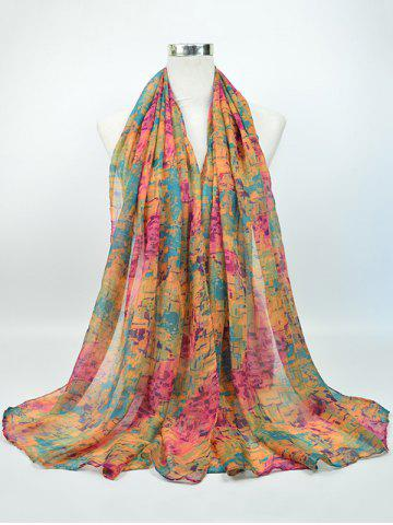 Chic Voile Nostalgic Pattern Gossamer Shawl Scarf PINK AND YELLOW AND GREEN