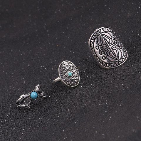 Best Faux Turquoise Oval Moon Ring Set - SILVER  Mobile