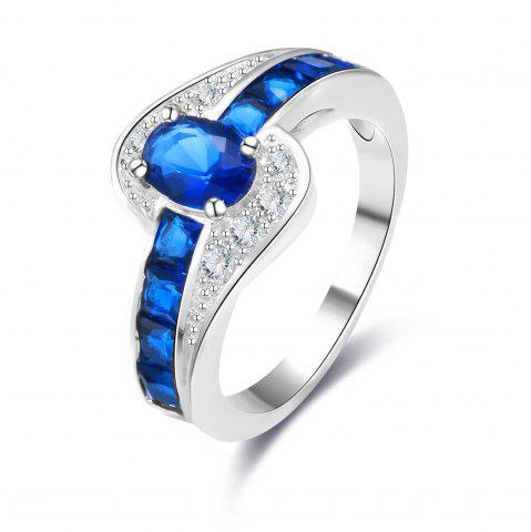 Online Rhinestone Faux Sapphire Round Ring - 6 BLUE Mobile