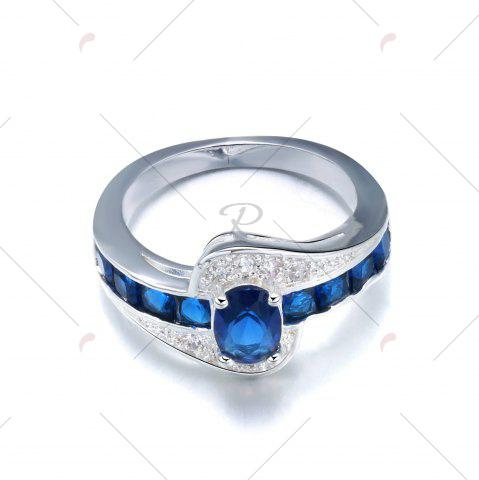 Discount Rhinestone Faux Sapphire Round Ring - 6 BLUE Mobile