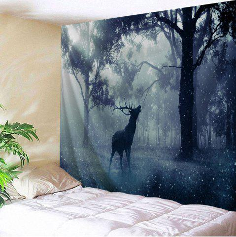 Forest Wall Art blue gray w59 inch * l79 inch mist forest deer tapestry wall art