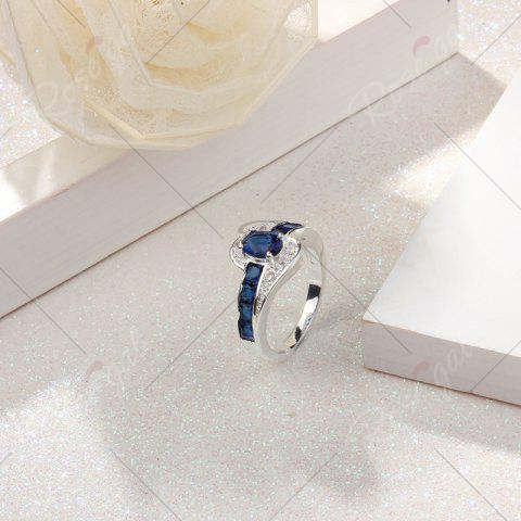 Outfit Rhinestone Faux Sapphire Round Ring - 8 BLUE Mobile