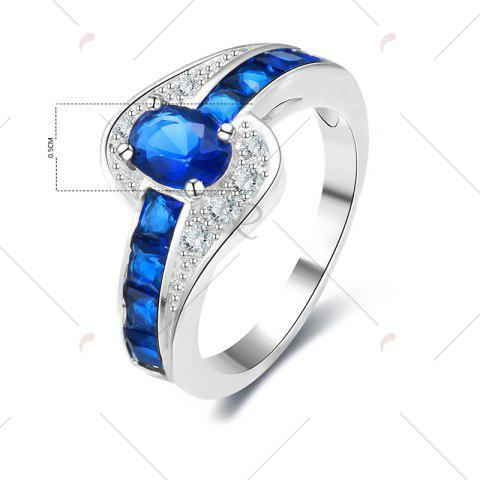 Chic Rhinestone Faux Sapphire Round Ring - 8 BLUE Mobile