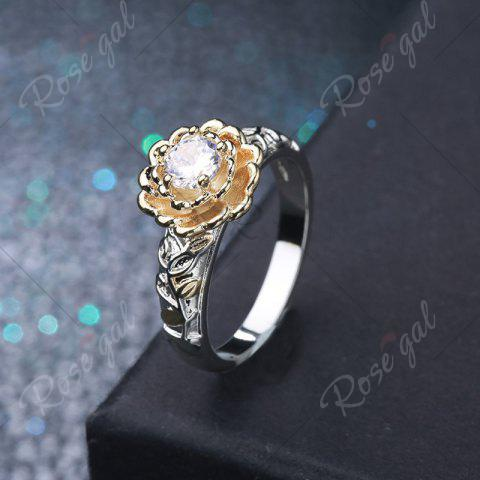 Outfit Rhinestone Metal Flower Round Ring - 7 SILVER Mobile