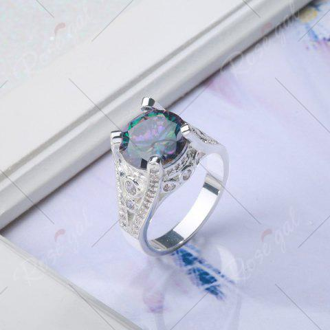 Chic Faux Gemstone Round Ring - 6 SILVER Mobile