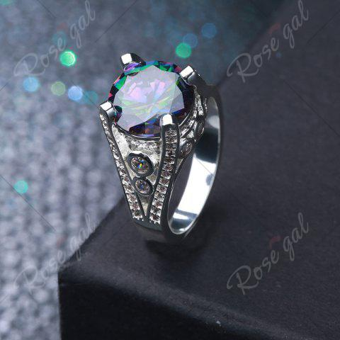 Buy Faux Gemstone Round Ring - 6 SILVER Mobile