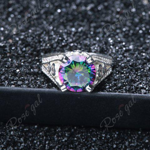 Unique Faux Gemstone Round Ring - 6 SILVER Mobile