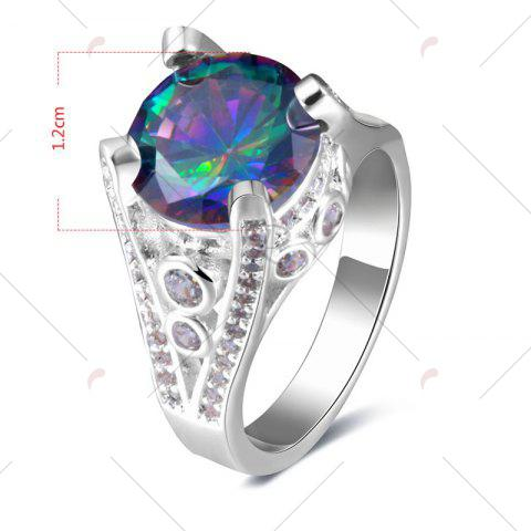 Outfit Faux Gemstone Round Ring - 8 SILVER Mobile