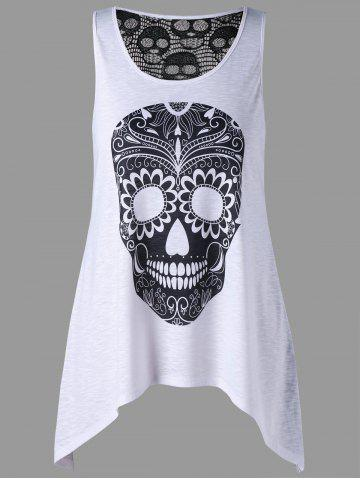 Latest Plus Size Crochet Back Skulls Top - 5XL WHITE AND BLACK Mobile