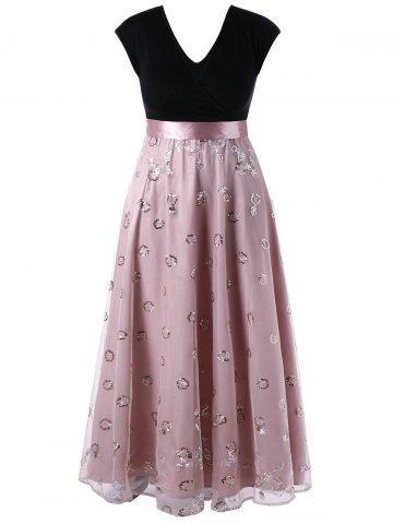 Plus Size Sequined Decorated Tulle Flowing Dress - Pale Pinkish Grey - 3xl