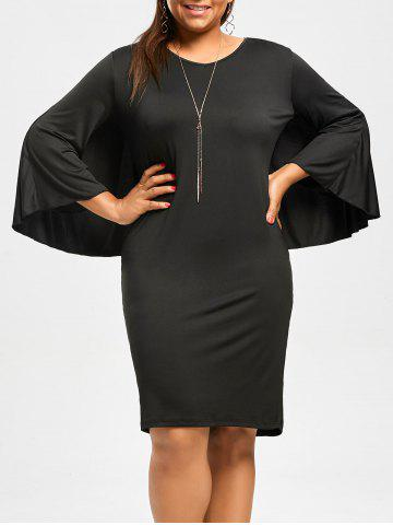 Latest Plus Size V-Neck Modest Work Bodycon Caped Dress - 3XL BLACK Mobile