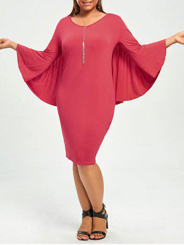 Plus Size V-Neck Modest Work Bodycon Caped Dress - Red - 3xl