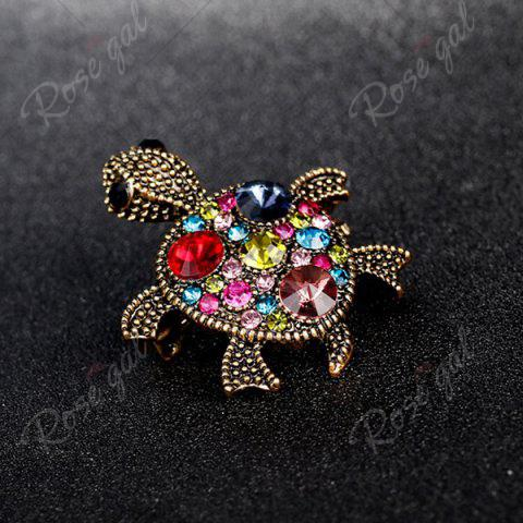 New Turtle Shape Faux Gem Inlaid Engraved Brooch - RED  Mobile