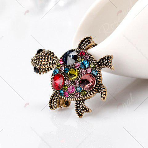 Fashion Turtle Shape Faux Gem Inlaid Engraved Brooch - RED  Mobile