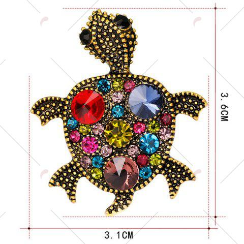 Outfit Turtle Shape Faux Gem Inlaid Engraved Brooch - RED  Mobile