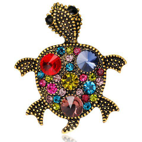 Affordable Turtle Shape Faux Gem Inlaid Engraved Brooch RED