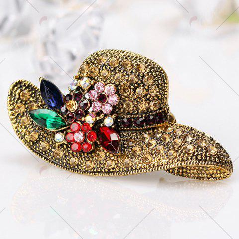 Outfit Retro Rhinestone Inlaid Sun Hat Shape Brooch - GOLDEN  Mobile