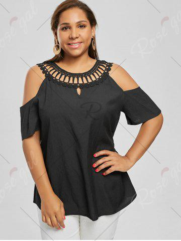 Chic Cold Shoulder Plus Size Lace Panel Blouse - 3XL BLACK Mobile