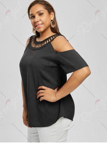 Outfits Cold Shoulder Plus Size Lace Panel Blouse - 3XL BLACK Mobile