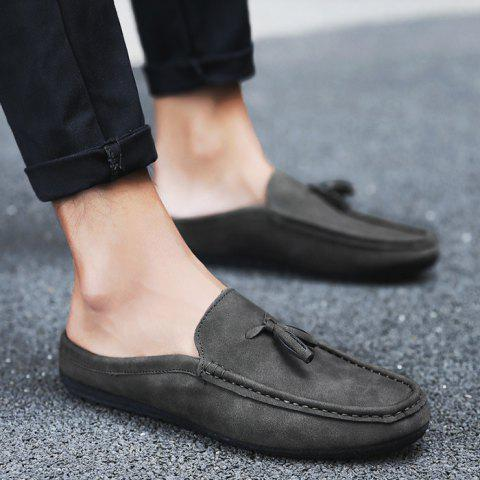 New Stitching Tassels Faux Leather Casual Shoes - 42 BLACK GREY Mobile