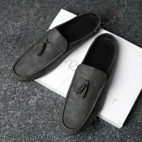 Sale Stitching Tassels Faux Leather Casual Shoes - 42 BLACK GREY Mobile