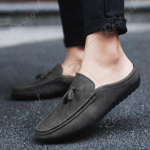 Buy Stitching Tassels Faux Leather Casual Shoes - 42 BLACK GREY Mobile