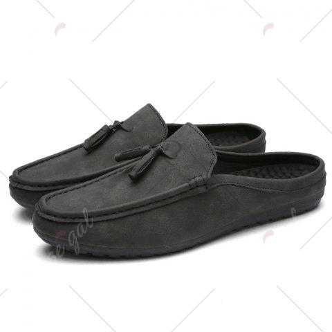 Online Stitching Tassels Faux Leather Casual Shoes - 42 BLACK GREY Mobile