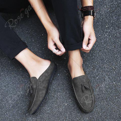 Trendy Stitching Tassels Faux Leather Casual Shoes - 42 BLACK GREY Mobile