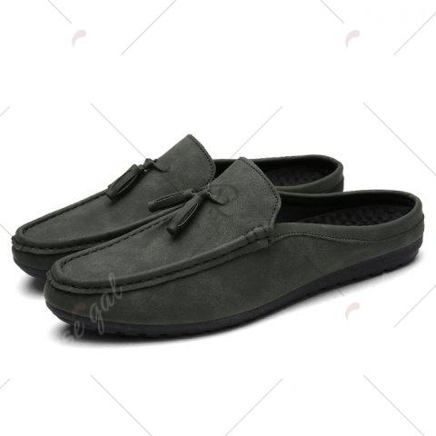 Cheap Stitching Tassels Faux Leather Casual Shoes - 43 DEEP GRAY Mobile