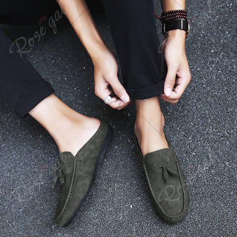 Affordable Stitching Tassels Faux Leather Casual Shoes - 43 DEEP GRAY Mobile