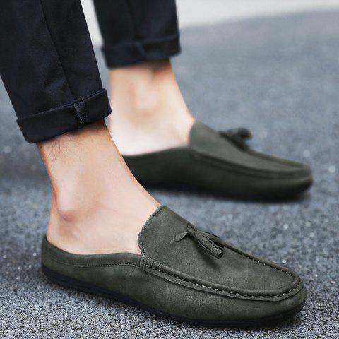 Discount Stitching Tassels Faux Leather Casual Shoes - 43 DEEP GRAY Mobile