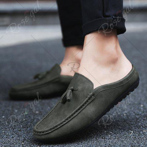 Fancy Stitching Tassels Faux Leather Casual Shoes - 43 DEEP GRAY Mobile