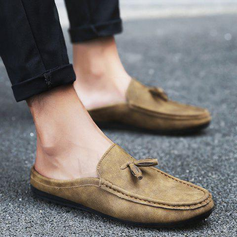 Stitching Tassels Faux Leather Casual Shoes - Yellow - 40