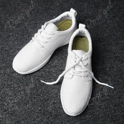 Sale Linen Breathable Tie Up Casual Shoes - 43 WHITE Mobile