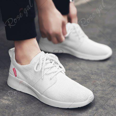 Fashion Linen Breathable Tie Up Casual Shoes - 43 WHITE Mobile