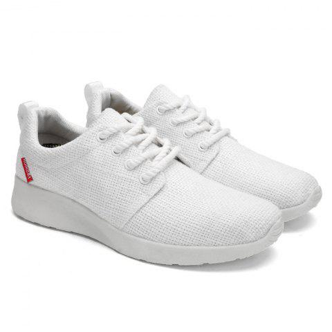 Buy Linen Breathable Tie Up Casual Shoes - 43 WHITE Mobile