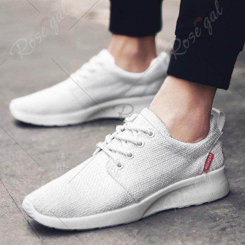 Shops Linen Breathable Tie Up Casual Shoes - 43 WHITE Mobile