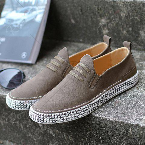 New Slip On Elastic Band Casual Shoes - 43 KHAKI Mobile