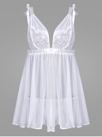 Sale Sheer Mesh Lace Insert Slip Babydoll - ONE SIZE WHITE Mobile