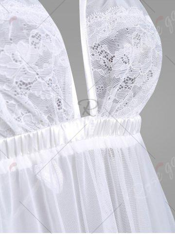 Outfits Sheer Mesh Lace Insert Slip Babydoll - ONE SIZE WHITE Mobile