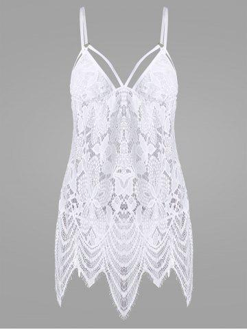 Outfits Lace Mini Sheer Slip Lingerie Dress - ONE SIZE WHITE Mobile