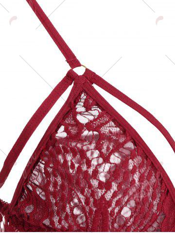 Chic Lace Mini Sheer Slip Lingerie Dress - ONE SIZE WINE RED Mobile
